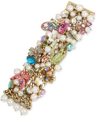 Betsey Johnson Gold-Tone Stone, Crystal & Imitation Pearl Floral Statement Bracelet