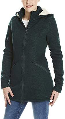 Bench Women's Bonded Long Teddy Jacket Sweat (Dark Green Gr163)