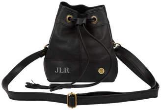 MAHI Leather Personalised Mini Black Leather Bucket/Pouch Bag