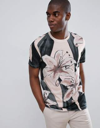 Ted Baker Crew Neck T-Shirt in Floral Placement Print