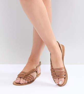 Asos DESIGN Wide Fit Flattered leather plaited t-bar flat sandals