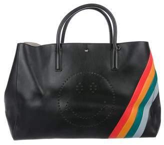 Anya Hindmarch Ebury Featherweight Rainbow Stripes Smiley Maxi Tote