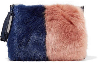 Loeffler Randall Two-tone Faux Fur And Suede Clutch - Navy