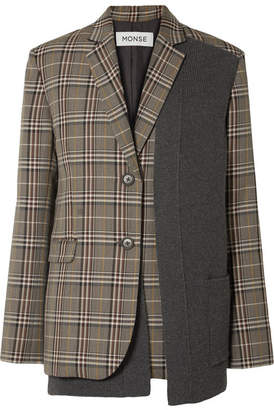 Monse Paneled Checked Woven Blazer - Gray