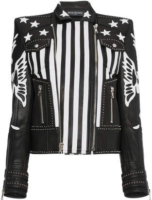 Balmain Leather jacket with stars and stripes