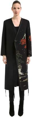 Oriental Printed Wool Wrap Coat
