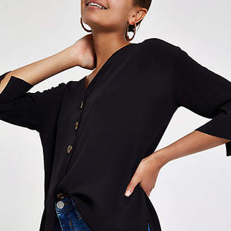River Island Black button front bar back blouse