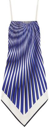 La Perla - Op-art Printed Satin-twill Dress - Bright blue $828 thestylecure.com