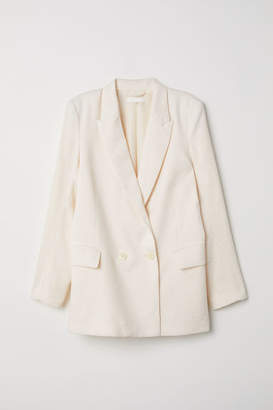 H&M Double-breasted Jacket - White