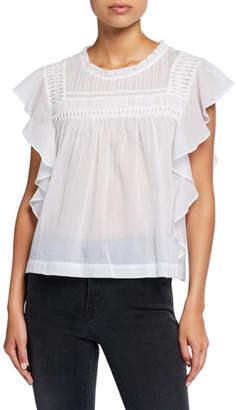 Etoile Isabel Marant Layona Sleeveless Plain Weave Ruffle Top
