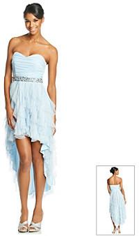 Teeze Me Strapless Glitter Mesh High Low Dress