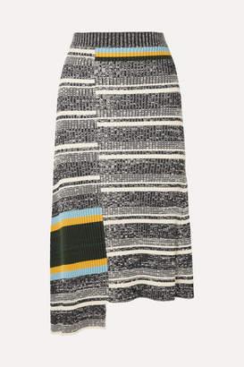 Victoria Beckham Asymmetric Striped Ribbed Cotton-blend Midi Skirt - Black