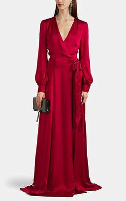 Azeeza Women's Lin Jewel-Embellished Silk Satin Wrap Gown - Red