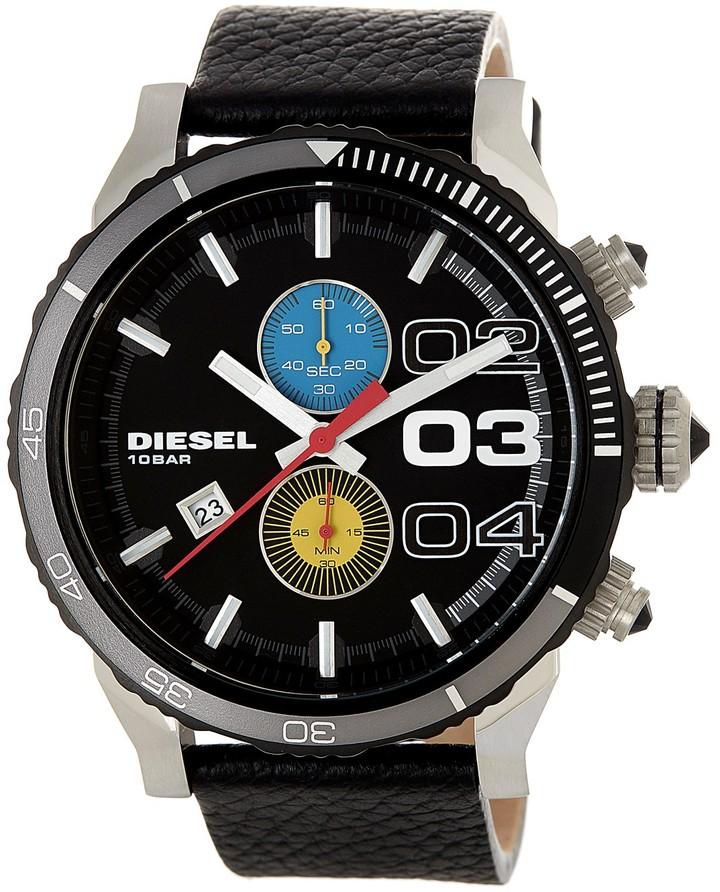 DieselDiesel Men's Double Down Leather Strap Watch