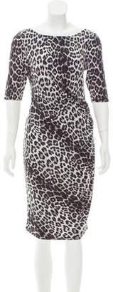 Pink Tartan Leopard Printed Jersey Knit Dress w/ Tags