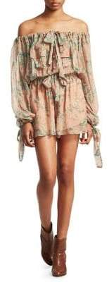 Zimmermann Tempest Gathers Silk Playsuit