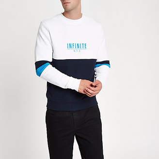 River Island White 'N.Y.C' block print sweatshirt