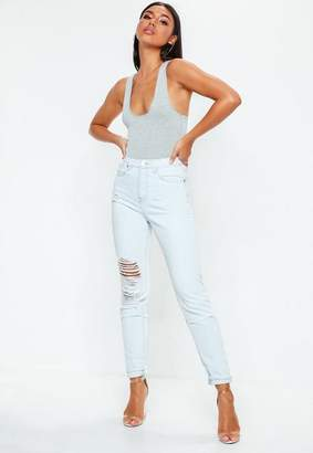Missguided Blue Light Wash Distressed High Waisted Denim Jeans, Light Blue