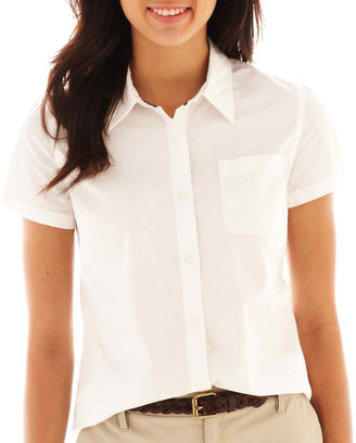 ARIZONA Arizona Short-Sleeve Button-Front Uniform Shirt $34 thestylecure.com