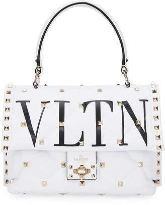 Valentino Candystud Medium VLTN Logo Top-Handle Bag