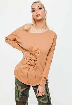 Missguided Camel Off Shoulder Lace Up Front Tunic top