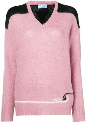 Prada colour block knitted sweater