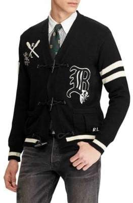Polo Ralph Lauren Distressed Letterman Cotton Cardigan