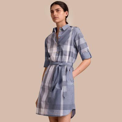Burberry Burberry Tie-waist Check Cotton Shirt Dress