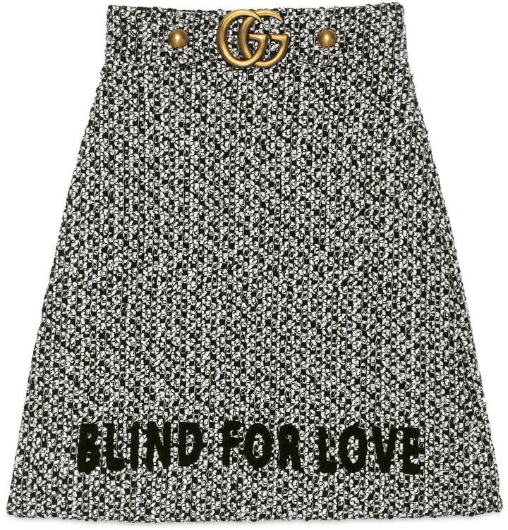 Embroidered tweed skirt