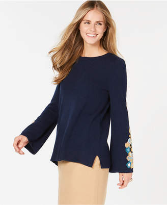 Charter Club Pure Cashmere Embroidered Sweater