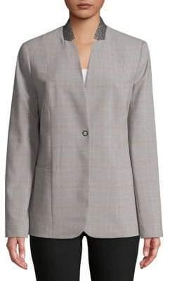 T Tahari Adara Contrast Collar Jacket