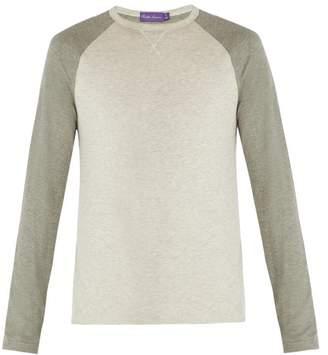 Ralph Lauren Purple Label Two Tone Long Sleeved T Shirt - Mens - Grey