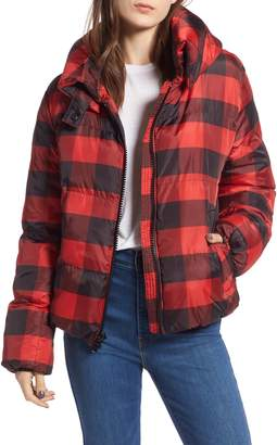 KENDALL + KYLIE Oversize Plaid Puffer Jacket
