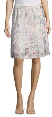 Elie Tahari Tyler Printed Floral Lace Skirt $368 thestylecure.com