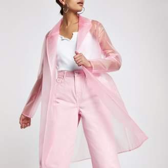 River Island Womens Pink plastic duster rain coat