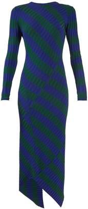 Altuzarra Whistler asymmetric-hem striped ribbed-knit dress