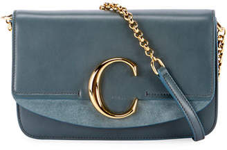 Chloé C Shiny & Suede Calfskin Clutch With Chain