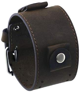 Pebble Rev #CHO-TML Crazy Horse Series Italian Design 24mm Lug Width Wide Moro Brown Leather Cuff Watch Band