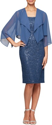 Alex Evenings Sequin Lace Cocktail Dress with Capelet Overlay