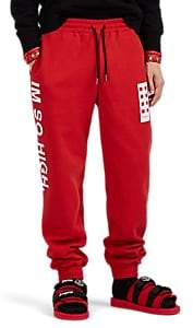 "Palm Angels 8 MONCLER Men's ""Im So High"" Cotton Fleece Jogger Pants - Red"
