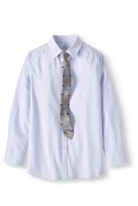 Wonder Nation Boy's Stretch Dobby Long Sleeve Dress Shirt and Tie, 2-Piece Set