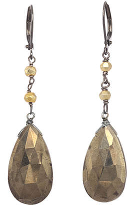 Rachel Reinhardt Silver Pyrite Drop Earrings
