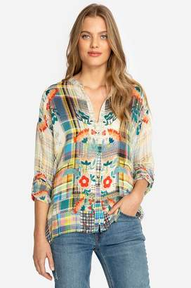 Johnny Was Patch Button-Down Blouse
