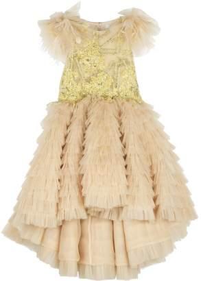 Mischka Aoki Sequin Tiered Tulle Gown
