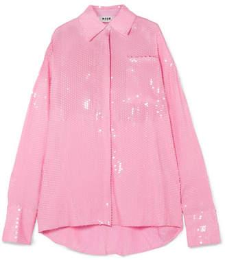 MSGM Sequinned Chiffon Shirt - Pink