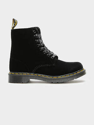 Dr. Martens New Womens 1460 Pascal Velvet Lace Up Boots In Black Boots