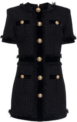 Balmain Fringe Detail A-Line Tweed Dress