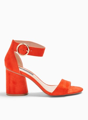 5e7efd3244629 Miss Selfridge SOPHIE Orange Block Heel Barely There Sandals