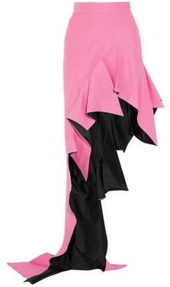 Ronald Van Der Kemp Asymmetric Ruffled Wool And Silk-Blend Maxi Skirt