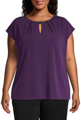 Liz Claiborne Cap Sleeve Pleat Neck Bling Top - Plus